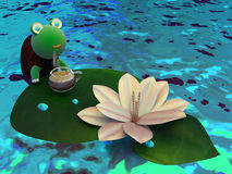 La tartaruga in vacanza beve il caffè fotografia stock libera da diritti