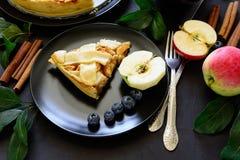 La tarte aux pommes américaine de tradition avec les pommes, la myrtille et la cannelle a décoré des feuilles de pomme images libres de droits