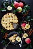 La tarte aux pommes américaine de tradition avec les pommes, la myrtille et la cannelle a décoré des feuilles de pomme sur le fon photographie stock libre de droits