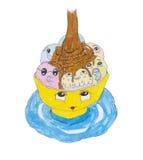 La tasse avec un visage gentil a rempli de boules de chocolat chaud et de crème glacée ou de guimauves, art de griffonnage, aspir illustration stock