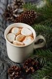 La tasse blanche de cacao chaud frais ou de chocolat chaud avec des guimauves sur le gris a tricoté le fond Image stock