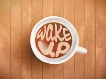 La tasse de café avec le lettrage de temps, motivation cite au sujet du temps, se réveillant, bon moment Café noir réaliste sur l Photos stock