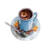 La tasse de café avec les grains de café et la cuillère sur le fond blanc, illustration d'aquarelle Images libres de droits