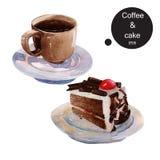 La tasse de café et le gâteau de chocolat freinent la main d'aquarelle de dessert de temps Photo stock