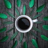 La tasse de café sur le vert part de la configuration d'appartement de fond Images stock