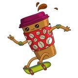 La tasse de café va sur la planche à roulettes verte Image stock