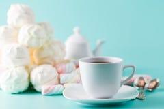 La tasse de Cofe et le pastel doux de pile ont coloré le marshmall Image libre de droits