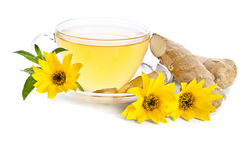 La tasse de thé avec des tranches de gingembre et l'Echinacea fleurissent photos stock