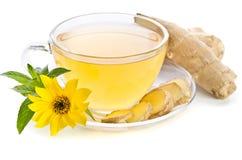 La tasse de thé avec des tranches de gingembre et l'Echinacea fleurissent images stock
