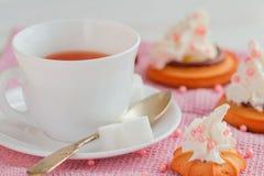 La tasse de thé avec la cuillère à café et le biscuit durcit Photographie stock libre de droits