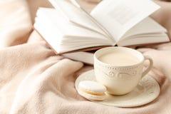 La tasse de thé chaud avec le citron s'est habillée dans l'écharpe chaude tricotée o d'hiver photo stock