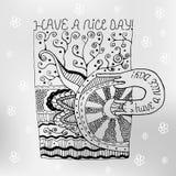 La tasse tirée par la main avec des modèles d'embrouillement de zen et souhaitent un beau jour postcard tee-shirt Images libres de droits