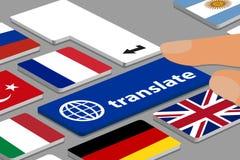 La tastiera con il blu traduce il bottone - computer o computer portatile con le dita e le bandiere di paese - illustrazione di v Fotografia Stock