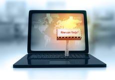 La tastiera del computer portatile con la chiave come posso aiuta Immagini Stock