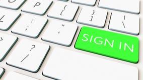 La tastiera di computer e verdi firmano dentro la chiave Rappresentazione concettuale 3d Fotografia Stock Libera da Diritti