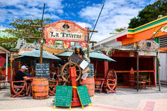 La Taverne restaurant on the walking quay. Saint Martin, Netherlands Antilles. SAINT MARTIN ISLAND, CARIBBEAN SEA - 13 MARCH 2013: La Taverne restaurant on the stock image