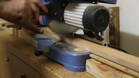 La tavola circolare ha visto il legno di taglio nell'officina del carpentiere stock footage