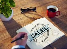 La tavola dell'uomo d'affari con il concetto di vendite Immagine Stock Libera da Diritti