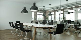 La tavola di conferenza moderna con il nero presiede l'interior design rappresentazione 3d Immagini Stock