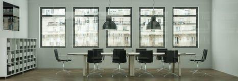 La tavola di conferenza moderna con il nero presiede l'interior design rappresentazione 3d Fotografia Stock Libera da Diritti