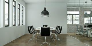 La tavola di conferenza moderna con il nero presiede l'interior design rappresentazione 3d Fotografie Stock Libere da Diritti