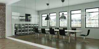 La tavola di conferenza moderna con il nero presiede l'interior design rappresentazione 3d Immagine Stock Libera da Diritti