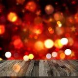 la tavola di legno 3D sul bokeh di Natale accende il fondo royalty illustrazione gratis
