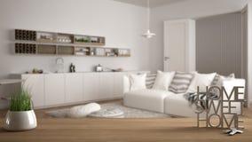 La tavola di legno, lo scrittorio o lo scaffale con la pianta conservata in vaso dell'erba, le chiavi della casa e 3D segna la fa Immagine Stock