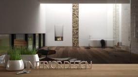 La tavola di legno, lo scrittorio o lo scaffale con la pianta conservata in vaso dell'erba, le chiavi della casa e 3D segna la fa Fotografie Stock