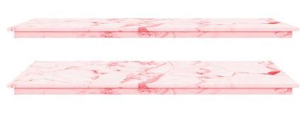 La tavola di marmo, superficie rosa del ripiano, lastra di pietra per i prodotti dell'esposizione isolati su fondo bianco ha perc immagini stock