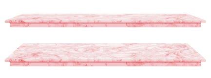 La tavola di marmo, superficie rosa del ripiano, lastra di pietra per i prodotti dell'esposizione isolati su fondo bianco ha perc fotografia stock libera da diritti