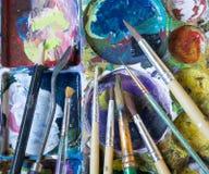 La tavolozza del ` s del pittore ha riempito di molti colori Completamento seguente Fotografia Stock Libera da Diritti