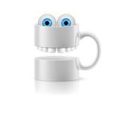 La taza blanca de dos porciones con los dientes y el froggy observa Fotos de archivo libres de regalías