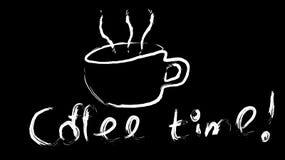 La taza blanca de vigorizar el café marrón caliente sabroso pintado a mano con un vapor hermoso y el café miden el tiempo de la i ilustración del vector