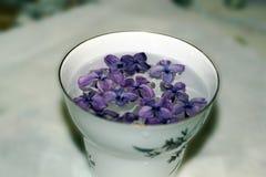 La taza borrosa con la lila florece en mantel, en colores románticos retros Fotografía de archivo libre de regalías