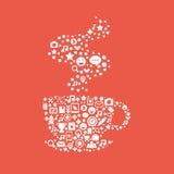 La taza de café compuso de un sistema de los iconos para la red social Fotos de archivo libres de regalías