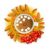 La taza de café con la melcocha con el serbal realista de la malla 3d ramifica con ashberry en un fondo anaranjado Vector Fotos de archivo libres de regalías
