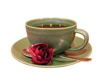 La taza de café con se levantó Foto de archivo