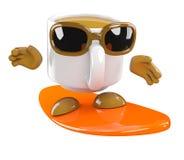 la taza de café 3d va a practicar surf stock de ilustración