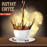 La taza de café del Arabica del aroma y los anuncios negros de las habas diseñan ejemplo 3d del producto caliente de la taza de c Imagen de archivo