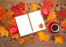 La taza de café, libreta, manzanas, haciendo punto, hojas de otoño Fotografía de archivo libre de regalías