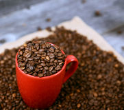 La taza de café llenó de los granos de café contra fondo de madera Imagen de archivo