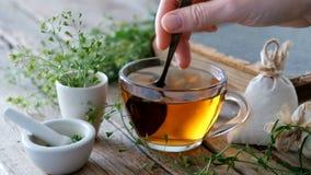 La taza de infusión de hierbas, manojo de pastores frunce, mortero de las hierbas medicinales de los pastoris de Bursa, libro vie almacen de metraje de vídeo