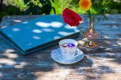 La taza de la porcelana de té y de primavera hermosa florece en florero en una tabla de madera en el jardín Partido del verano Fotos de archivo libres de regalías