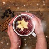 La taza de té caliente con la baya y el canela de Apple condimenta las manos femeninas de madera de la opinión superior del conce imágenes de archivo libres de regalías