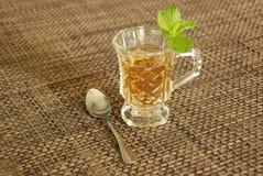 La taza de té con la hoja verde de la menta en la tabla sirvió beber imagen de archivo