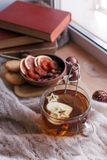 La taza de té con la manzana, hace punto una manta, frutos secos y los libros en el travesaño de la ventana, concepto de fin de s fotos de archivo libres de regalías
