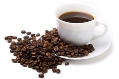 La taza del café y de las habas 4 Fotos de archivo libres de regalías