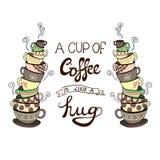 La taza del ` A de café es como letras del ` del abrazo con las pilas dibujadas mano del garabato del VECTOR de tazas Imágenes de archivo libres de regalías