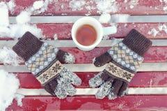 La taza del ` s del té y de las mujeres hizo punto guantes en un banco Invierno, el sn fotografía de archivo libre de regalías